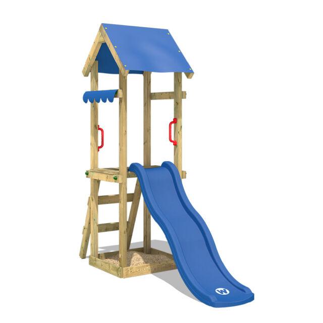 Wickey Tinyspot Spielturm Kletterturm Blaue Rutsche Garten