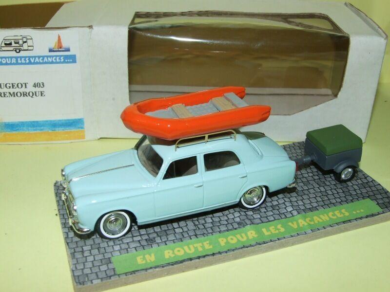 PEUGEOT 403 avec sa remorque et galerie bateau EN ROUTE POUR LES VACANCES 1 43