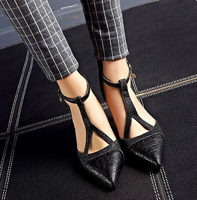 Elegant womens stylish pointy toe t-strap ankle buckle mid heel court shoes 2018