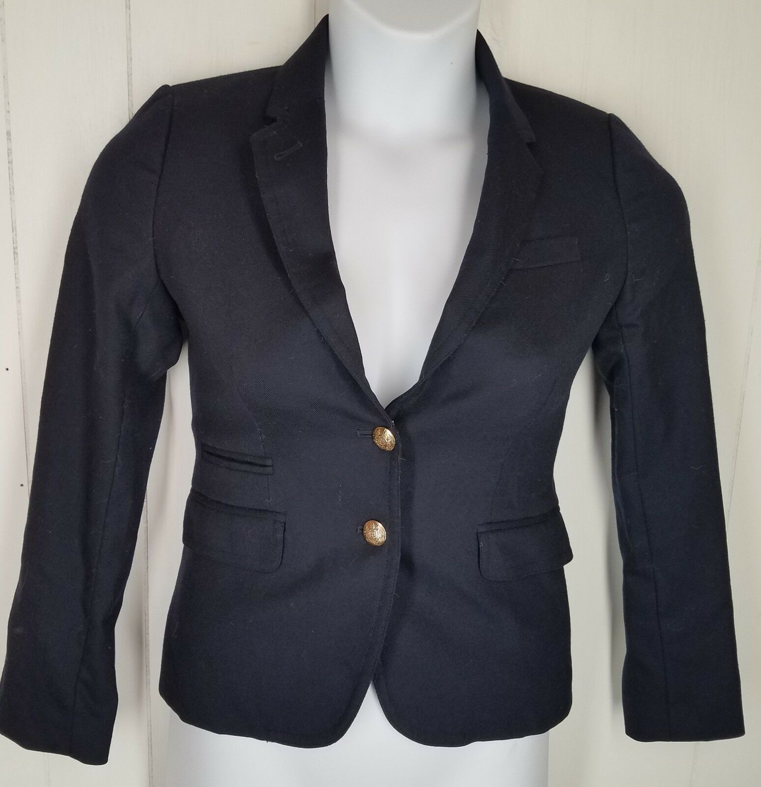 J.Crew Classic schoolboy blazer in navy size 0 womens gold button wool blend