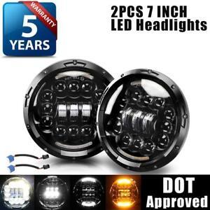 2PCS-DOT-7-034-Round-LED-Headlights-Halo-Black-For-Porsche-911-912-914-924-928-944