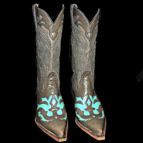 Gris À Norte Avec La Paso Bottes Turquoise Fait Colombe Main Del Cowboy nvtcvWgR0