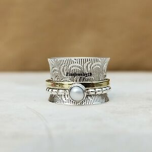 Pearl-Ring-925-Sterling-Silver-Spinner-Ring-Meditation-Statement-Jewelry-A325
