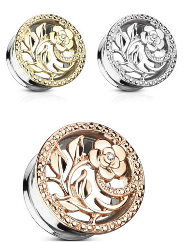 Flesh Tunnel Plug Flower Filigree Pendant Piercing Rose Zirconia Earring