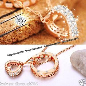 rosegold herz ring halsketten silber weihnachten geschenke f r sie ebay. Black Bedroom Furniture Sets. Home Design Ideas