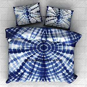 Bon Details About Royal Tie Dye Bedspread Bedcover Double Bed Sheet Indian  Indigo Blue Bedding Set