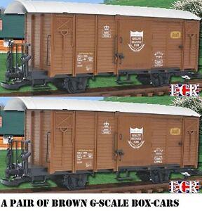une paire Yes 2 G échelle 45mm JAUGE Chemin de fer boîte voiture marron cargo