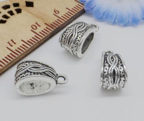 30Pcs Tibetan Silver Charms Caution Spacer Beads Fit Bracelet 14x7.5mm trou 5 mm