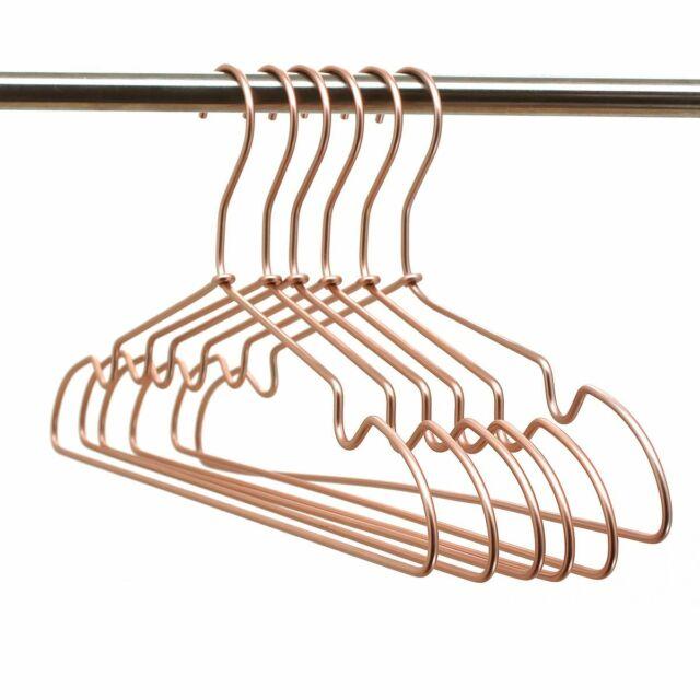 """30p 16.5"""" Rose Gold Aluminium Wire Clothes Hangers Suits Coat"""