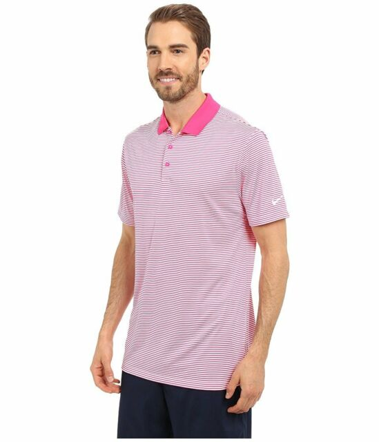 f7953a44d Nike Golf Victory Polo Standard Fit Mini Stripe Pink Mens Medium ...