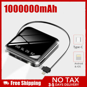 1000000mAh Mini Powerbank Type-C LED LCD Tragbare Zusatzakku Batterie Ladegeräte