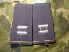 Pair of Army Captain slip on rank for Dress Uniform Desert Storm Era New GREEN