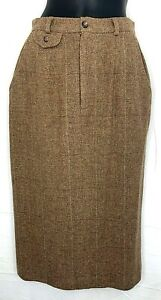 Vintage-Ralph-Lauren-Womens-Maxi-Skirt-Beige-Wool-Tweed-Long-Pencil-USA-Size-8