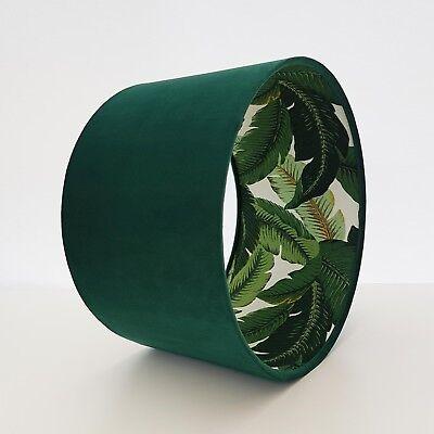 Lampshade Deep Green Velvet Retro Botanical Leaves Palm Garden