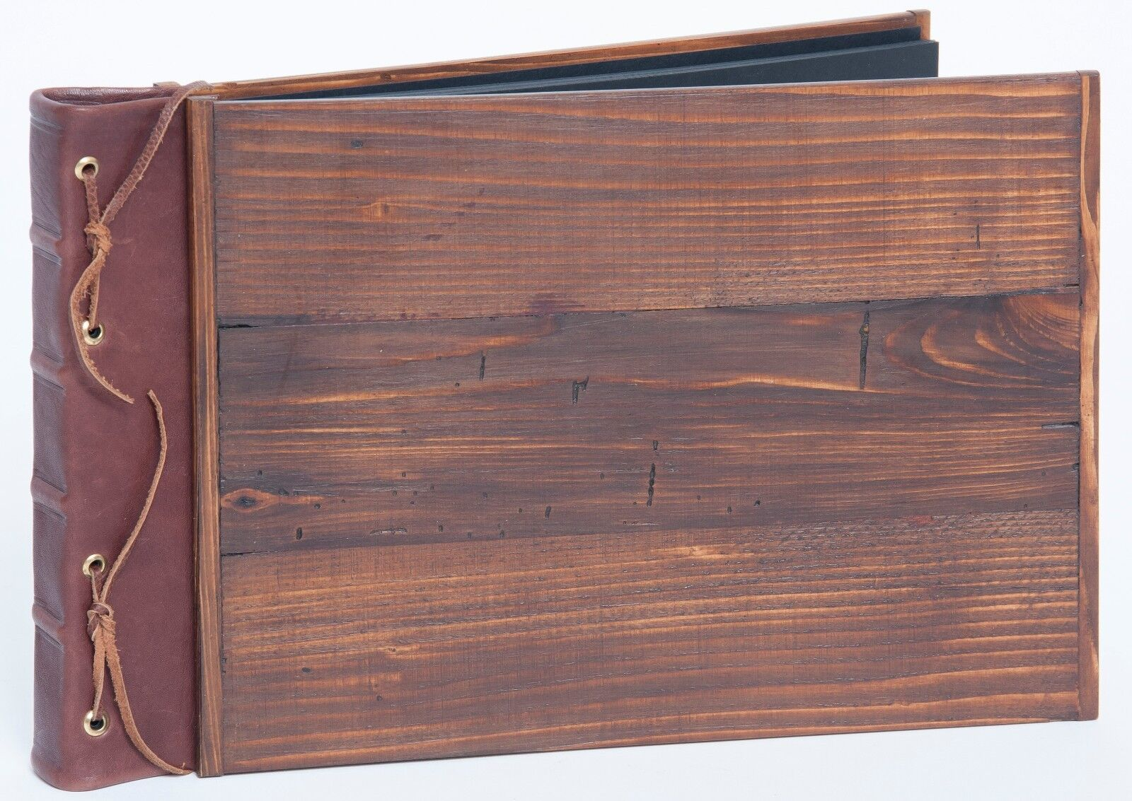 Gästebuch oder Fotoalbum Holz mit Leder sehr edel Handarbeit Nr.8 Seiten schwarz