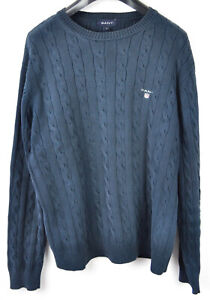 GANT-Men-039-s-Medium-Cotton-Blue-Cable-Knit-Crew-Neck-Sweater-Jumper-Pullover-Top-M