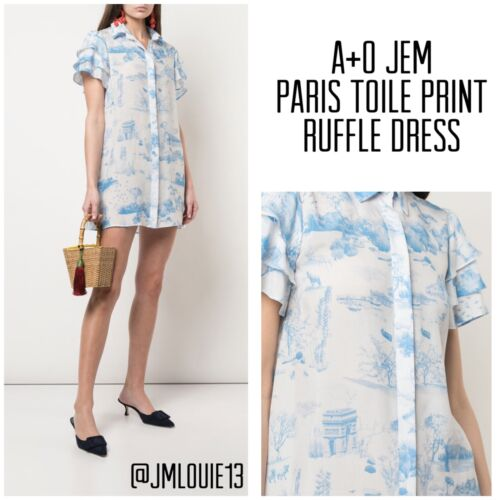 Alice + Olivia Jem Paris Toile Ruffle Sleeve Shirt