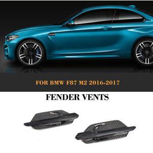 2x-Carbon-Dekore-Kotfluegel-Lufteinlaesse-Kiemen-Fender-Trim-fuer-BMW-M2-F87-Coupe