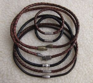Men-039-s-Genuine-Top-Quality-Braided-4-6-mm-Leather-Necklaces-with-Various-Clasps