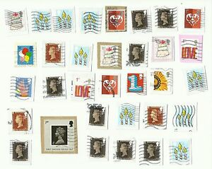 UK-stamps-x-33-used-presumed-from-booklets-special-sheets-Batch-1