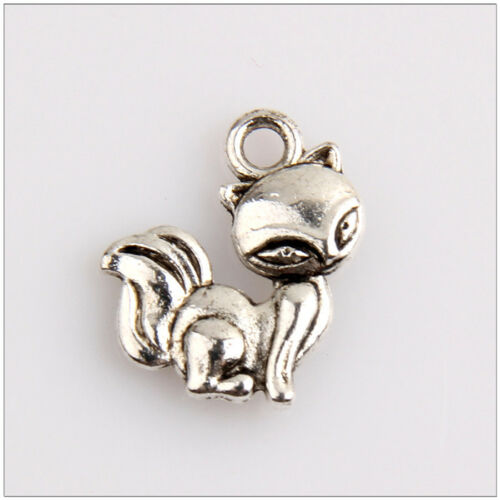 40 Tibetan Silver Cat Charms Pendentifs 15 mm EIF0261