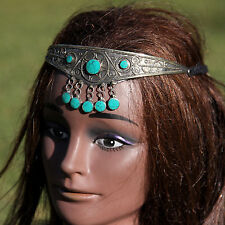 Turkoman Tribal CROWN Handmade Headpiece Belly Dance Green Malachite 619k1