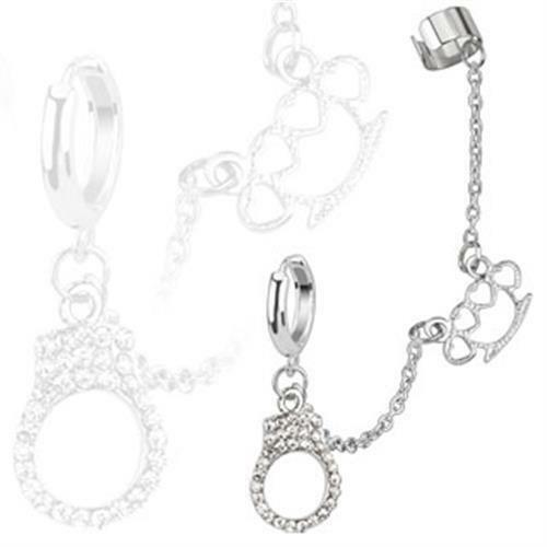 Ohrstecker Ohrklemme Cuff mit Kette Silber Handschelle Schlagring mit Kristallen