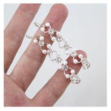 New Simple White String Pearls And Crystal Rhinestone Flower Dangle Earrings