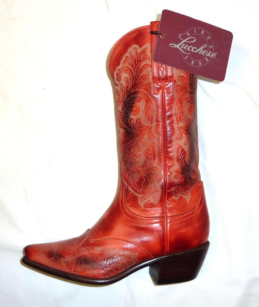 Lucchese I4806 Aubrey tamaño tamaño tamaño 5B botas de cuero para mujer 12  occidentales lápiz labial rojo nuevo  al precio mas bajo