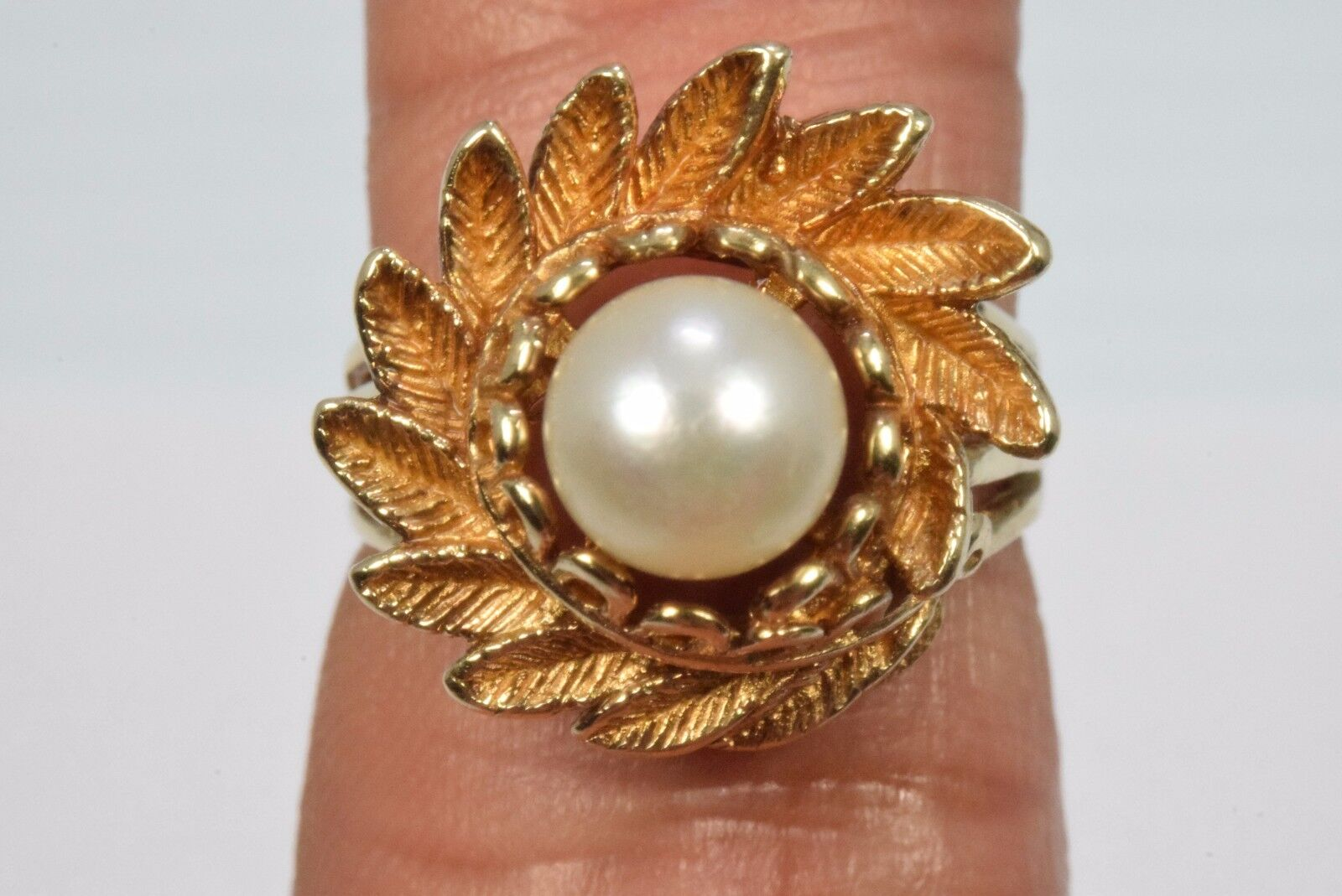 10k Yellow gold Flower Pearl Solitaire Ring White Size 6.5 United States PSCO