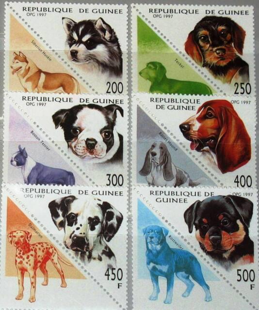 GUINEA 1997 1673-78 1410-1415 Hunde Dogs Domestic Animals Fauna Tiere MNH