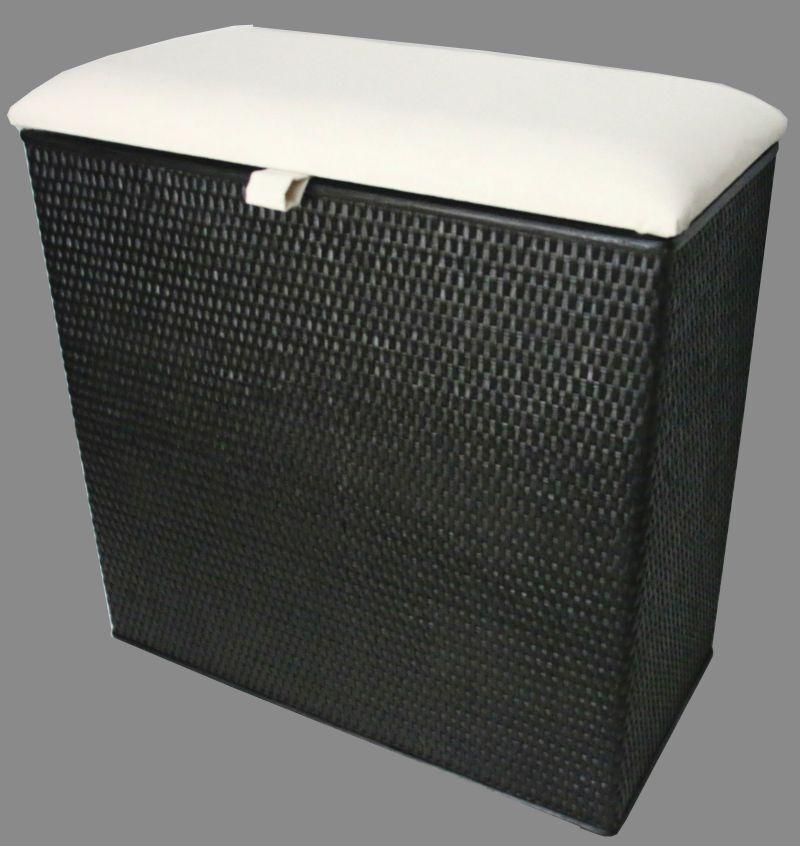 Wäschekorb zwei Fachsotierer Sitzhocker neu Farbe   schwarz  made in Germany