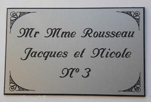 plaque gravée boite lettres porte personnalisée 3  ou  4 lignes  ft 48 x 100 mm