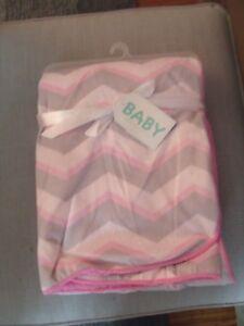 Zak And Zoey Baby Blanket Girls Pink White Grey Chevron