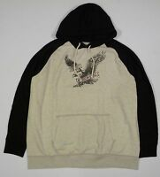 Mens Ae American Eagle Black Gray Popover Graphic Hoodie Sweatshirt Xxxl 3xl