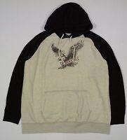 Mens Ae American Eagle Black Gray Popover Graphic Hoodie Sweatshirt Xxxl 3xl