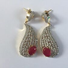 RED GOLD SILVER AMERICAN DIAMOND COSTUME JEWELLERY EARRINGS CRYSTAL BRIDAL NEW