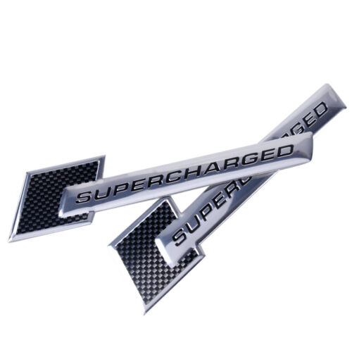 2x Silver SUPERCHARGED Metal Car Badge Emblem Front Trunk Side Door Logo