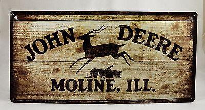 LARGE Embossed John Deere Wood Effect Advertising Tin Plate Sign 25cm x 50cm
