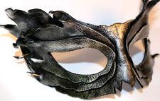 SILVER OSSIDIANA Piuma Maschera Pelle a Mano VENEZIANO Masquerade Nero / Argento