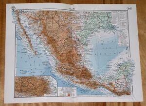 1938 original vintage map of mexico oaxaca guerrero hidalgo potosi