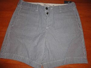 Mens-34-Abercrombie-amp-Fitch-0133-028-Navy-Blue-Stripe-Casual-Shorts-100-Cotton