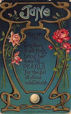 Art Nouveau Postcard June Birthday, Rose Flower & Pearl Birthstone~112251