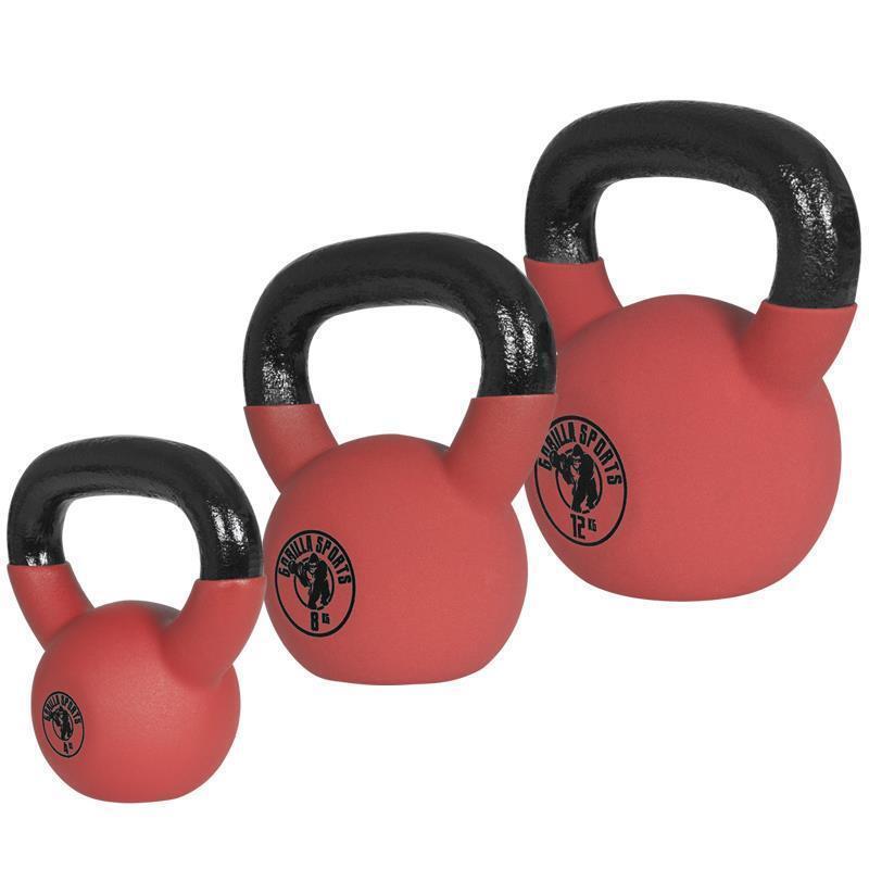 Gorilla Sports® rosso Rubber Kettlebell Set 24kg 48 12kg Vinyl Kettlebell