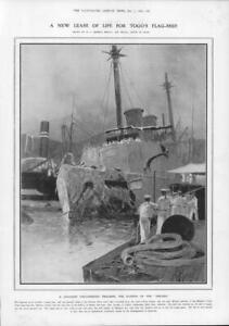 1906-Antique-Print-JAPAN-Sasebo-Mikasa-Togo-Flag-Ship-Navy-Engineering-224