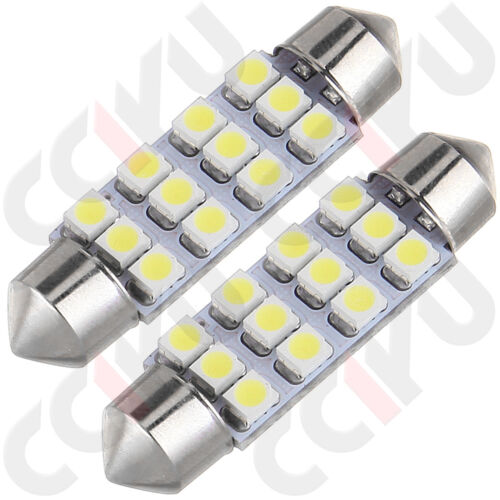 """10x White 12-SMD 1.72/"""" 42mm 578 211-2 LED Bulbs For Car Interior Map Dome Lights"""