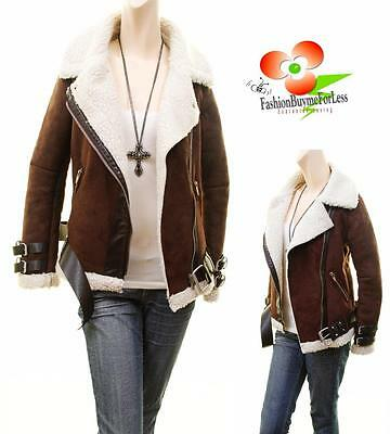 Faux Hooded Lamb Suede Leather Shearling Raw Hem Aviator Bomber Coat Jacket Top