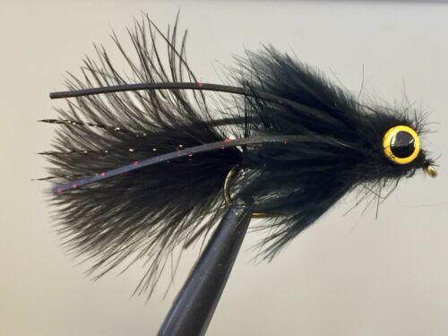 #6 HOOK UMPQUA AK BECK/'S SUPER BUGGER BLACK WEIGHTED LEECH FLY FISH TROUT