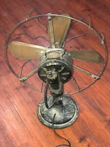 EMCO ANTIQUE ELECTRIC CAST IRON BRASS TABLE DESK WALL MOUNT FAN NT ...