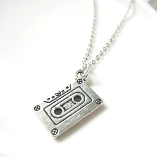"""MuSiC CaSSeTTe TaPe NeCkLaCe 18/"""" SILVER CHAiN 80s 90S ReTrO KiTsCh OLD ScHooL"""